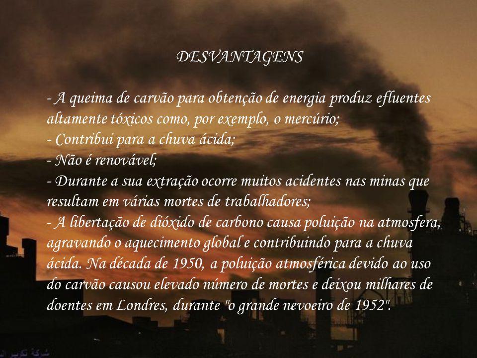 DESVANTAGENS - A queima de carvão para obtenção de energia produz efluentes altamente tóxicos como, por exemplo, o mercúrio; - Contribui para a chuva