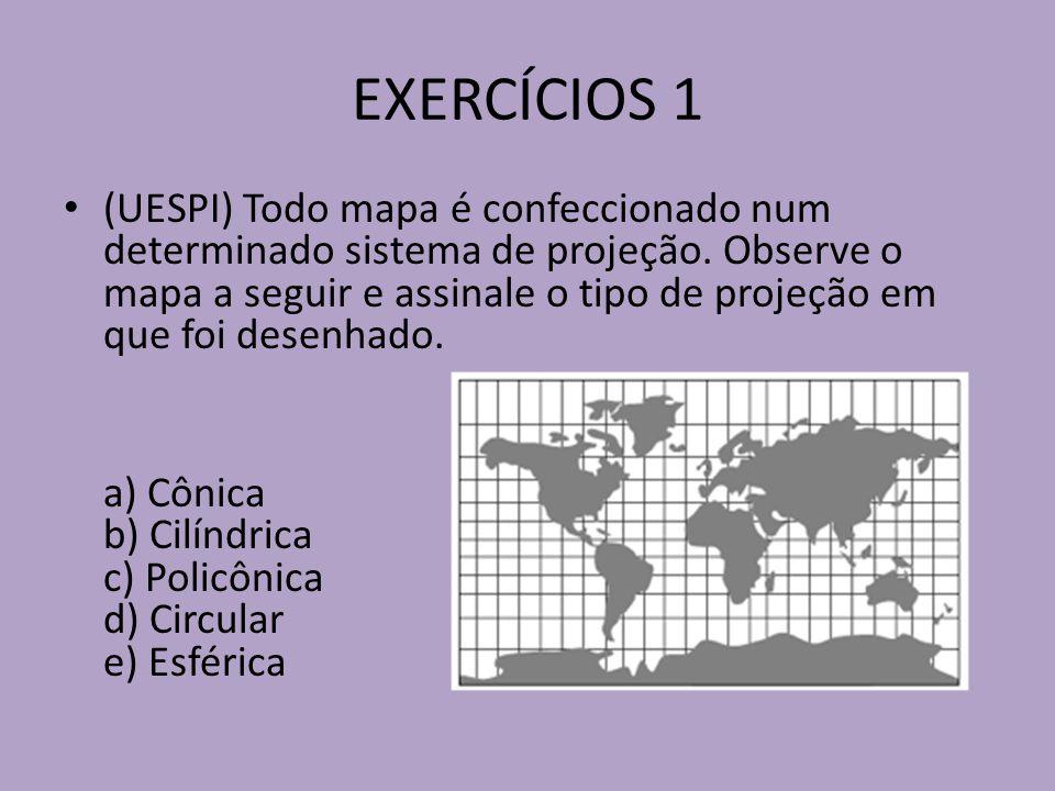 EXERCÍCIOS 1 (UESPI) Todo mapa é confeccionado num determinado sistema de projeção.