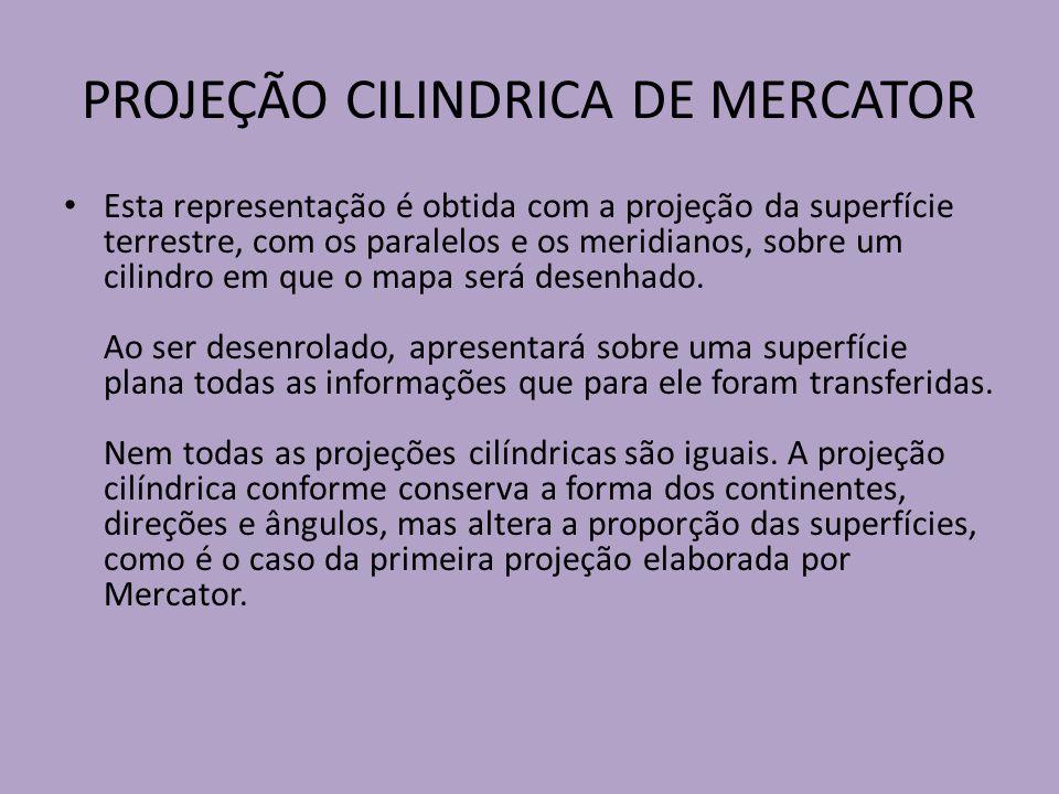PROJEÇÃO CILINDRICA DE MERCATOR Esta representação é obtida com a projeção da superfície terrestre, com os paralelos e os meridianos, sobre um cilindro em que o mapa será desenhado.
