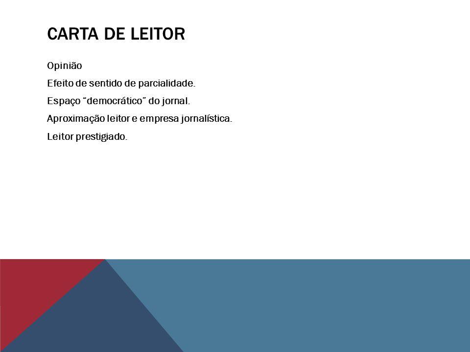CARTA DE LEITOR Opinião Efeito de sentido de parcialidade. Espaço democrático do jornal. Aproximação leitor e empresa jornalística. Leitor prestigiado