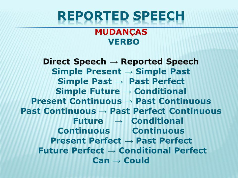 MUDANÇAS ADVÉRBIO Direct Speech Reported Speech today that day yesterday the day before tomorrow the next day now then …ago...before next… the following...