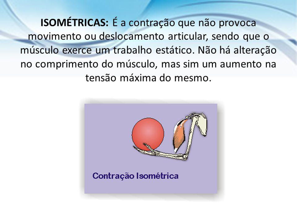 ISOMÉTRICAS: É a contração que não provoca movimento ou deslocamento articular, sendo que o músculo exerce um trabalho estático. Não há alteração no c
