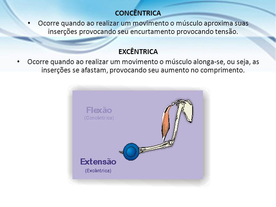 CONCÊNTRICA Ocorre quando ao realizar um movimento o músculo aproxima suas inserções provocando seu encurtamento provocando tensão. EXCÊNTRICA Ocorre