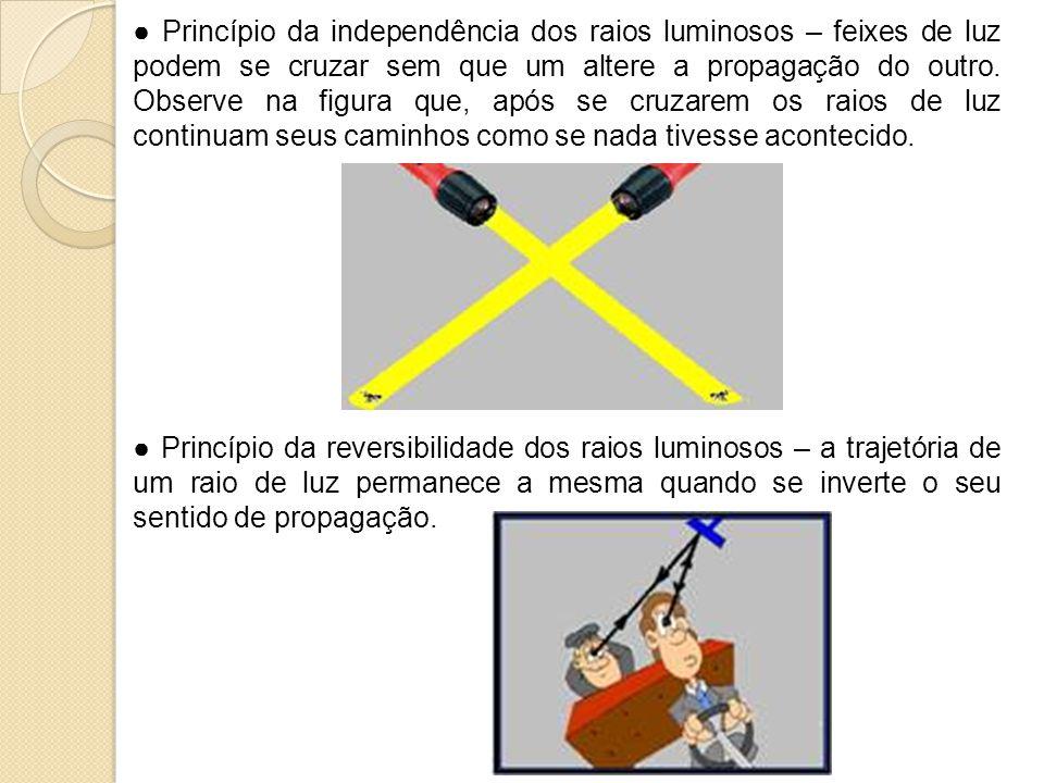 Princípio da independência dos raios luminosos – feixes de luz podem se cruzar sem que um altere a propagação do outro. Observe na figura que, após se