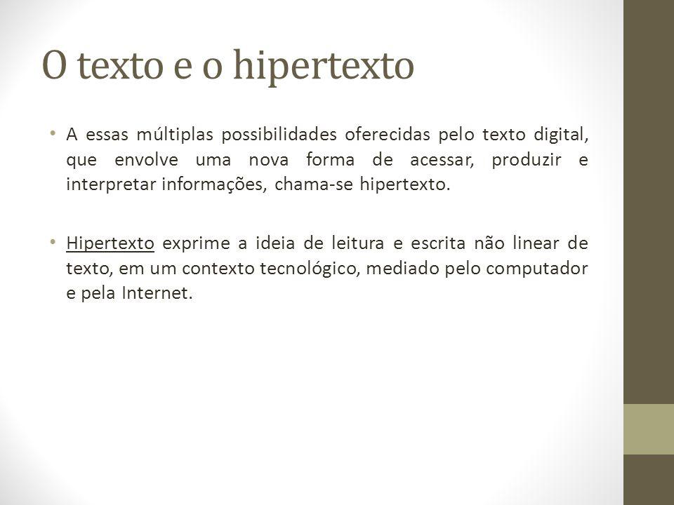 O texto e o hipertexto A essas múltiplas possibilidades oferecidas pelo texto digital, que envolve uma nova forma de acessar, produzir e interpretar i