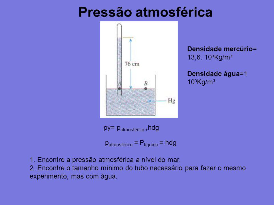 Pressão atmosférica py= p atmosférica + hdg p atmosférica = P líquido = hdg Densidade mercúrio= 13,6. 10³Kg/m³ Densidade água=1 10³Kg/m³ 1. Encontre a
