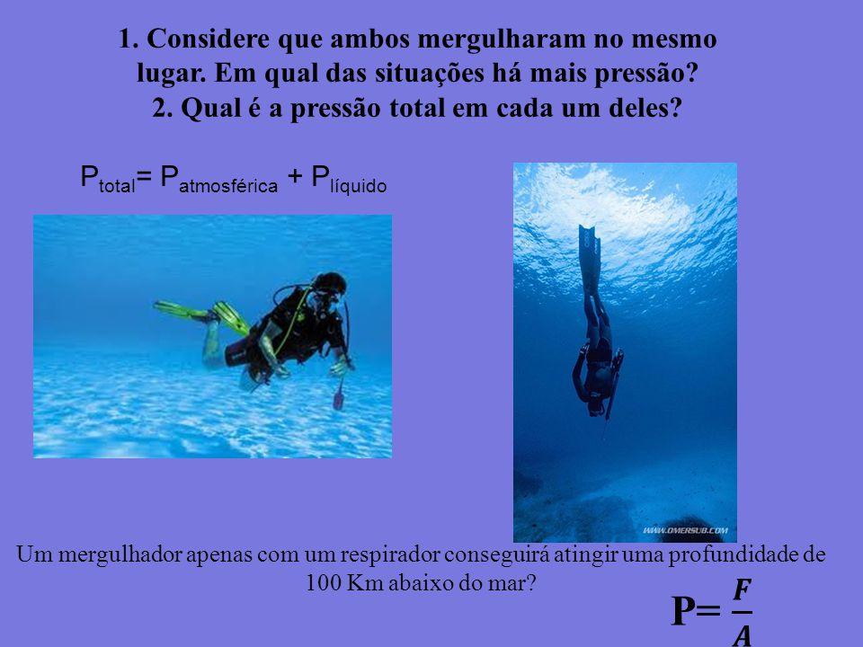 1. Considere que ambos mergulharam no mesmo lugar. Em qual das situações há mais pressão? 2. Qual é a pressão total em cada um deles? Um mergulhador a