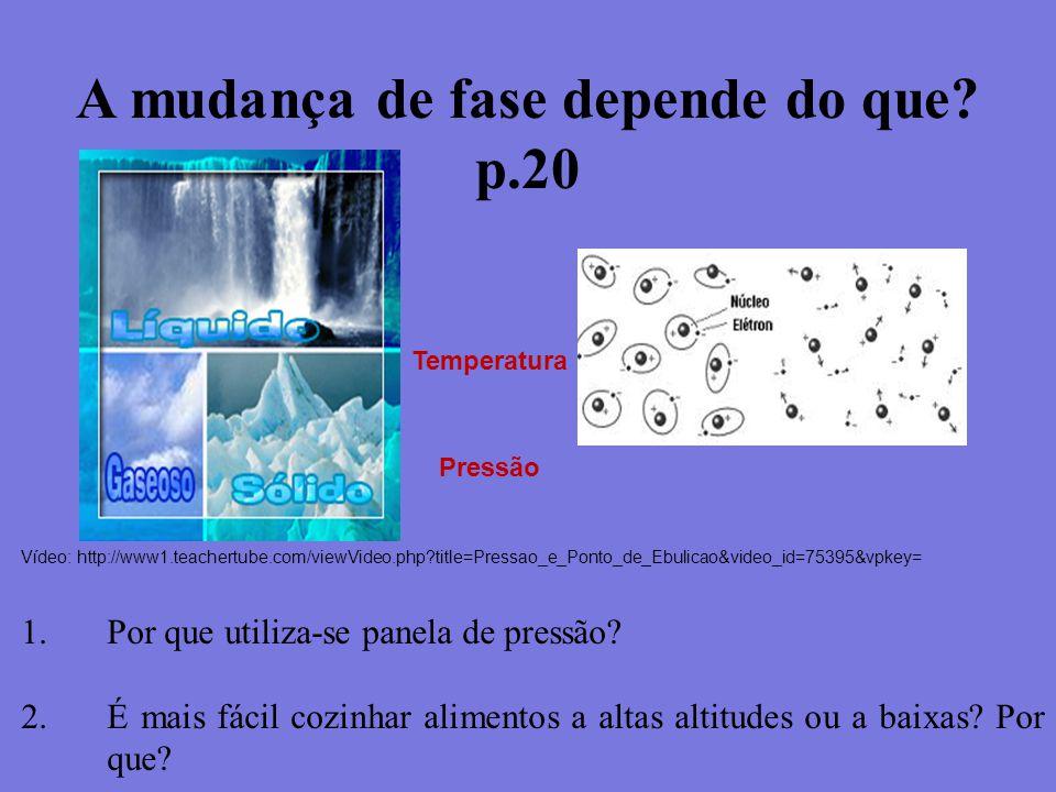 A mudança de fase depende do que? p.20 Temperatura Pressão Vídeo: http://www1.teachertube.com/viewVideo.php?title=Pressao_e_Ponto_de_Ebulicao&video_id