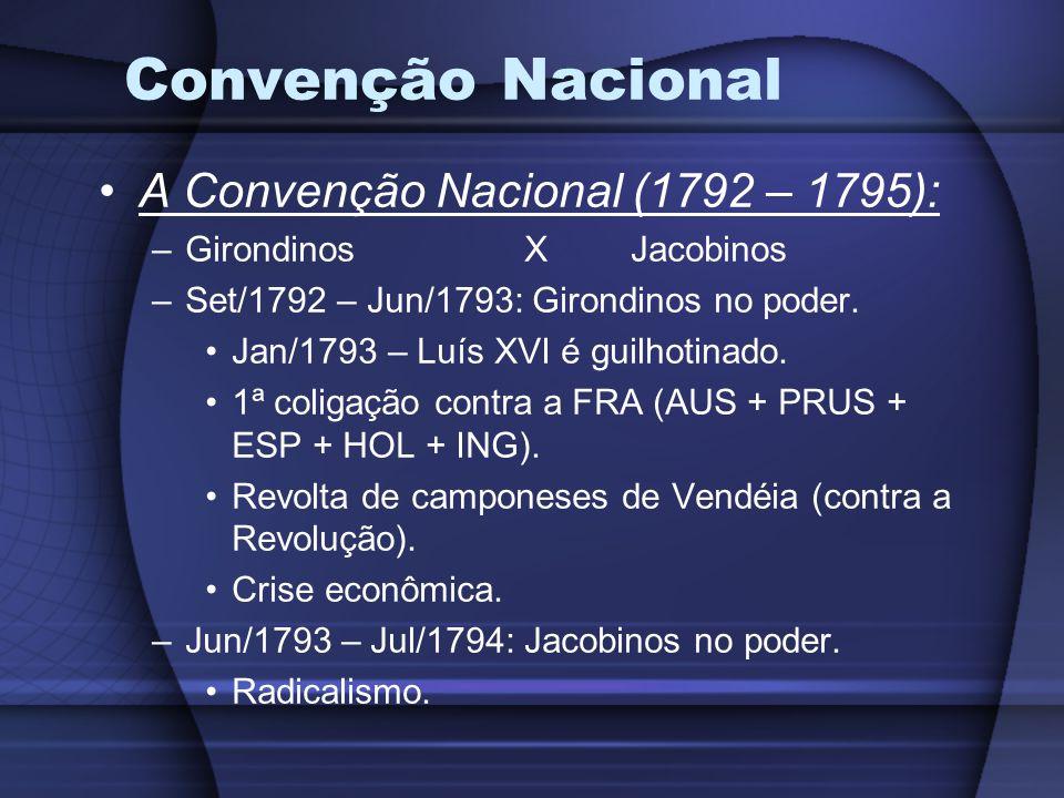 Convenção Nacional A Convenção Nacional (1792 – 1795): –GirondinosXJacobinos –Set/1792 – Jun/1793: Girondinos no poder.