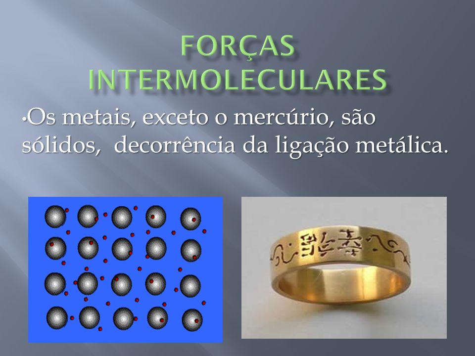 Os metais, exceto o mercúrio, são sólidos, decorrência da ligação metálica.