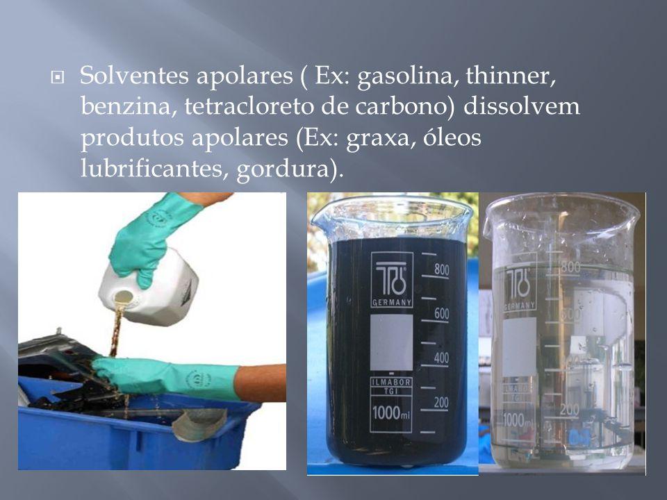 Solventes apolares ( Ex: gasolina, thinner, benzina, tetracloreto de carbono) dissolvem produtos apolares (Ex: graxa, óleos lubrificantes, gordura).