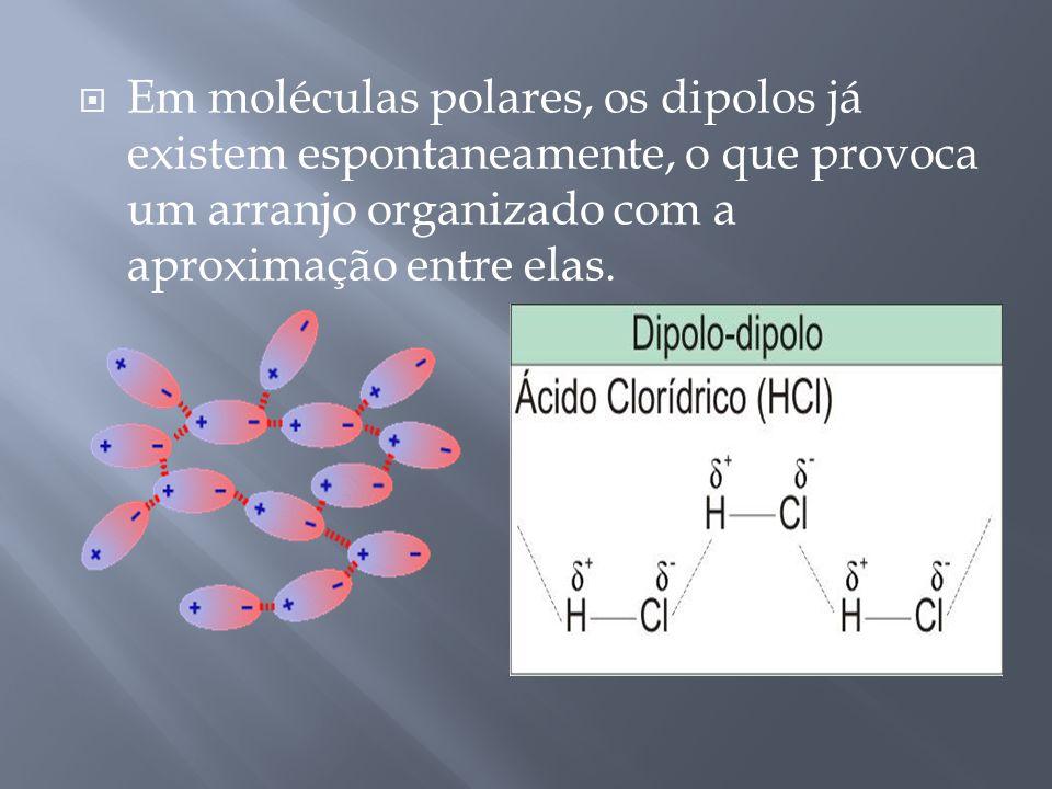 Em moléculas polares, os dipolos já existem espontaneamente, o que provoca um arranjo organizado com a aproximação entre elas.