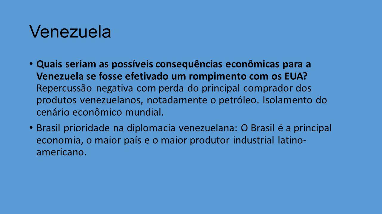 Venezuela Quais seriam as possíveis consequências econômicas para a Venezuela se fosse efetivado um rompimento com os EUA.