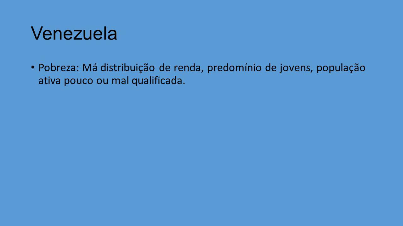 Venezuela Pobreza: Má distribuição de renda, predomínio de jovens, população ativa pouco ou mal qualificada.