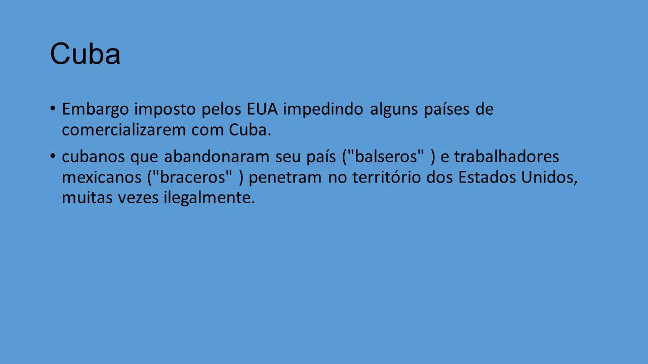 Cuba Embargo imposto pelos EUA impedindo alguns países de comercializarem com Cuba.