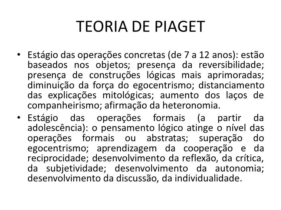 TEORIA DE PIAGET Estágio das operações concretas (de 7 a 12 anos): estão baseados nos objetos; presença da reversibilidade; presença de construções ló