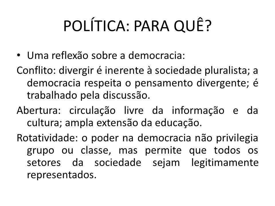 POLÍTICA: PARA QUÊ? Uma reflexão sobre a democracia: Conflito: divergir é inerente à sociedade pluralista; a democracia respeita o pensamento divergen