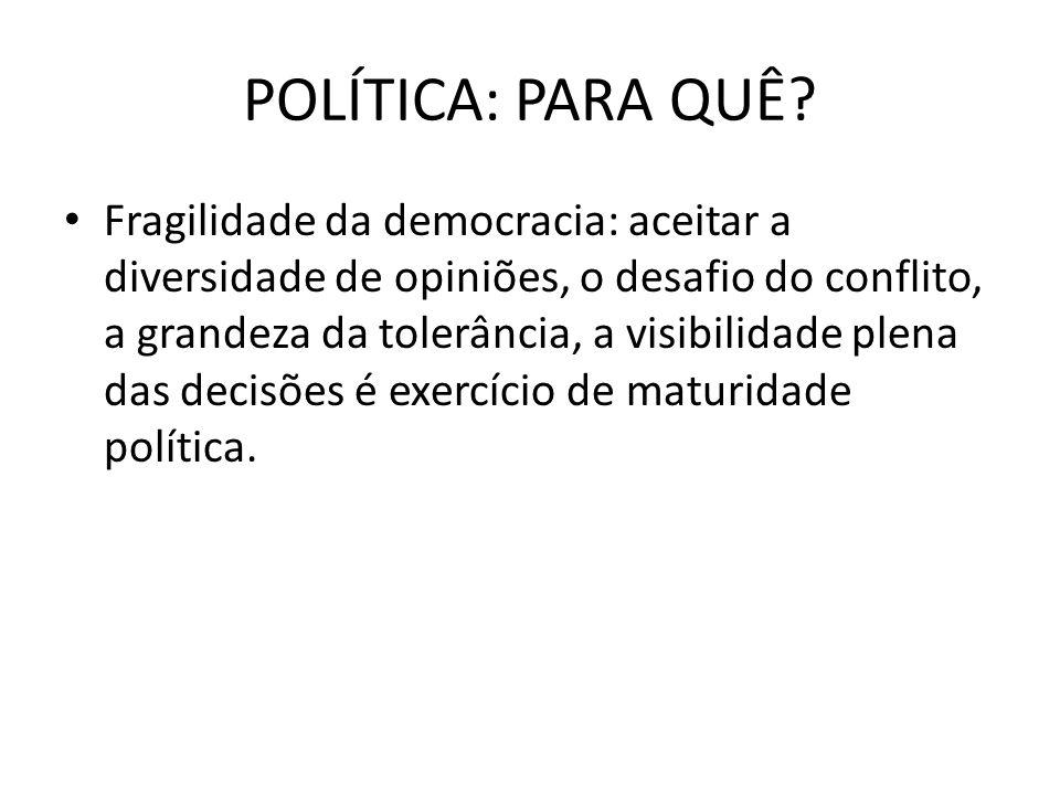 POLÍTICA: PARA QUÊ? Fragilidade da democracia: aceitar a diversidade de opiniões, o desafio do conflito, a grandeza da tolerância, a visibilidade plen