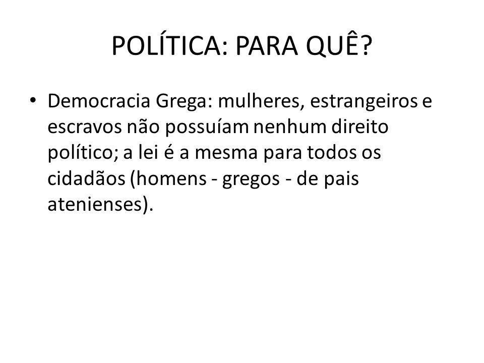 POLÍTICA: PARA QUÊ? Democracia Grega: mulheres, estrangeiros e escravos não possuíam nenhum direito político; a lei é a mesma para todos os cidadãos (