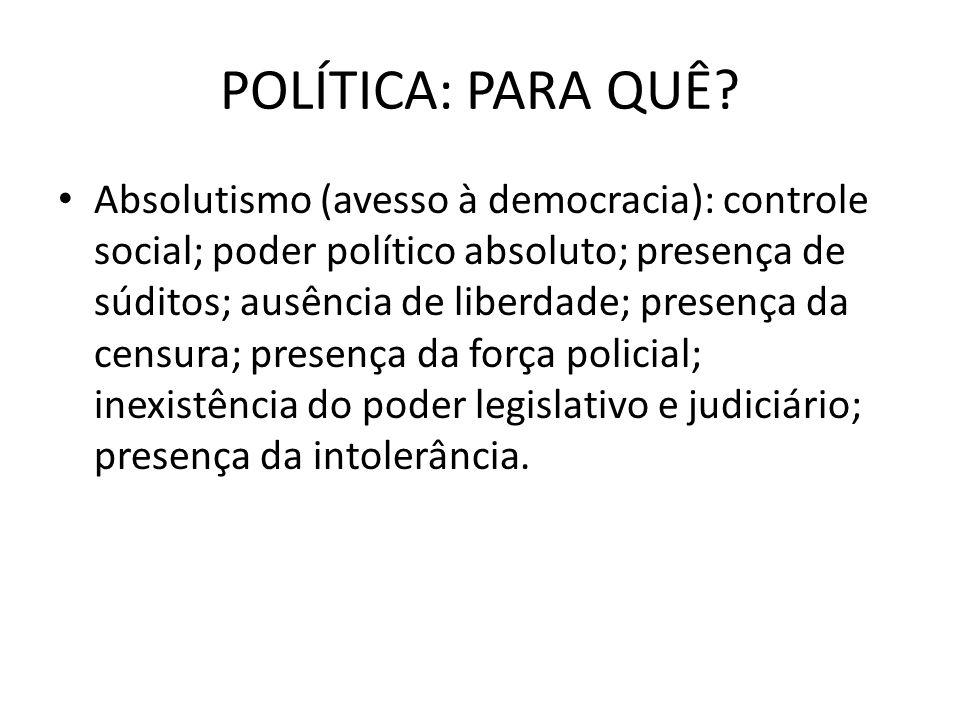 POLÍTICA: PARA QUÊ? Absolutismo (avesso à democracia): controle social; poder político absoluto; presença de súditos; ausência de liberdade; presença
