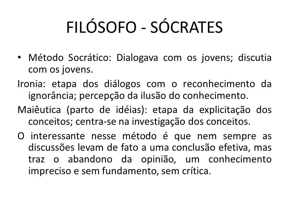 FILÓSOFO - SÓCRATES Método Socrático: Dialogava com os jovens; discutia com os jovens. Ironia: etapa dos diálogos com o reconhecimento da ignorância;