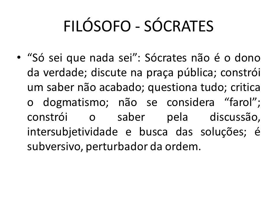 FILÓSOFO - SÓCRATES Só sei que nada sei: Sócrates não é o dono da verdade; discute na praça pública; constrói um saber não acabado; questiona tudo; cr
