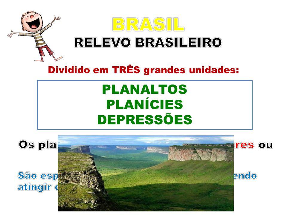 Dividido em TRÊS grandes unidades: PLANALTOS PLANÍCIES DEPRESSÕES