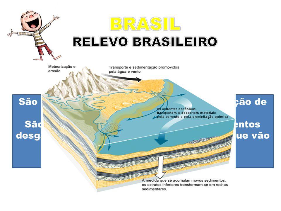 PLANÍCIES São regiões com pouca ou nenhuma variação de altitude. São formadas, principalmente por sedimentos desgastados e de regiões mais elevadas, q