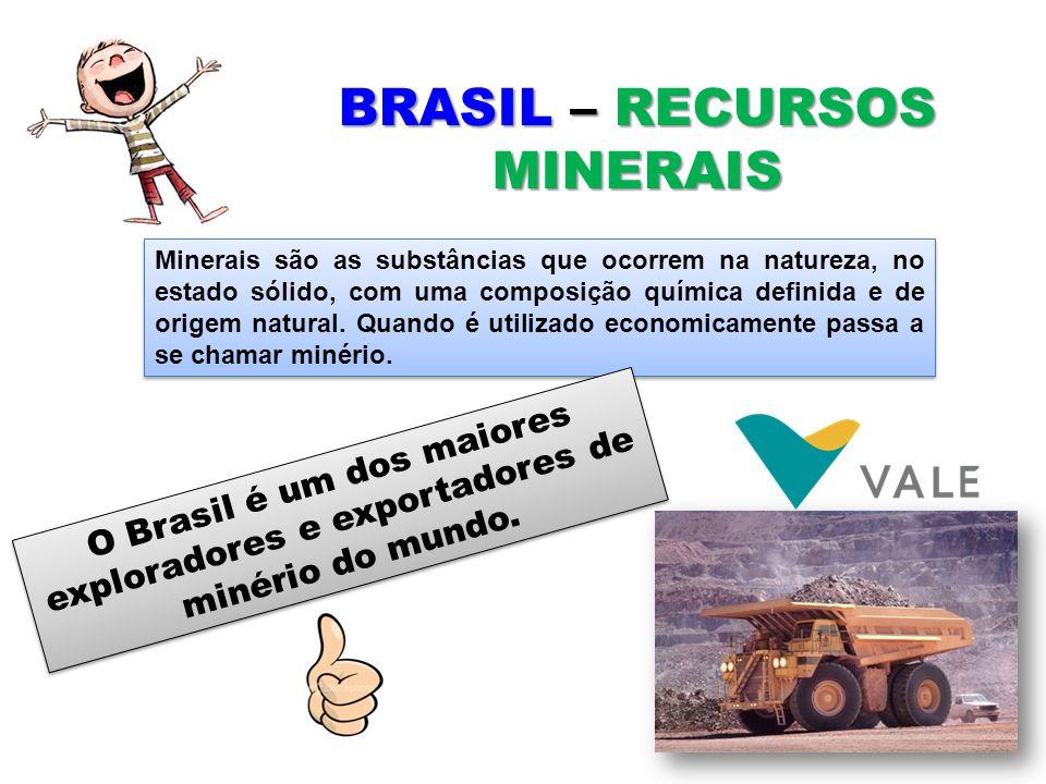 BRASIL – RECURSOS MINERAIS Minerais são as substâncias que ocorrem na natureza, no estado sólido, com uma composição química definida e de origem natu