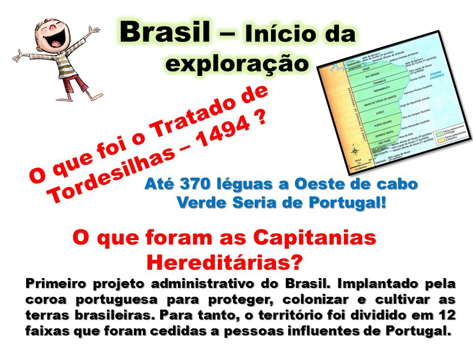 Até 370 léguas a Oeste de cabo Verde Seria de Portugal! O que foram as Capitanias Hereditárias? O que foi o Tratado de Tordesilhas – 1494 ? Primeiro p