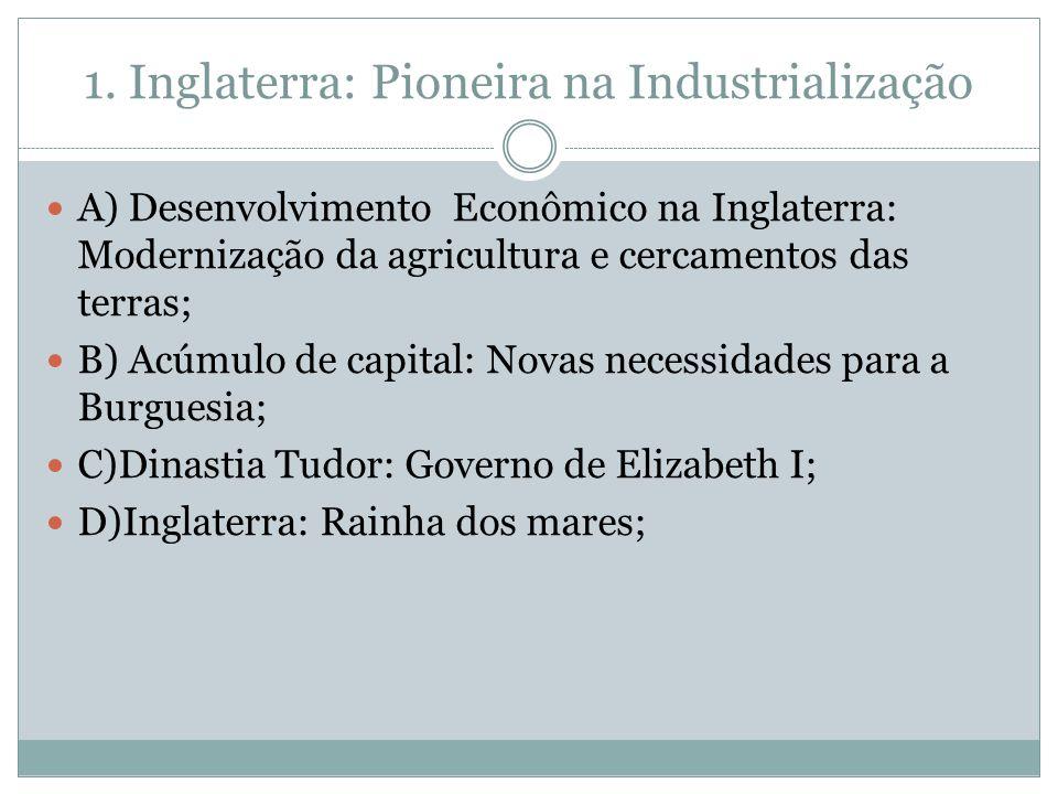 1. Inglaterra: Pioneira na Industrialização A) Desenvolvimento Econômico na Inglaterra: Modernização da agricultura e cercamentos das terras; B) Acúmu