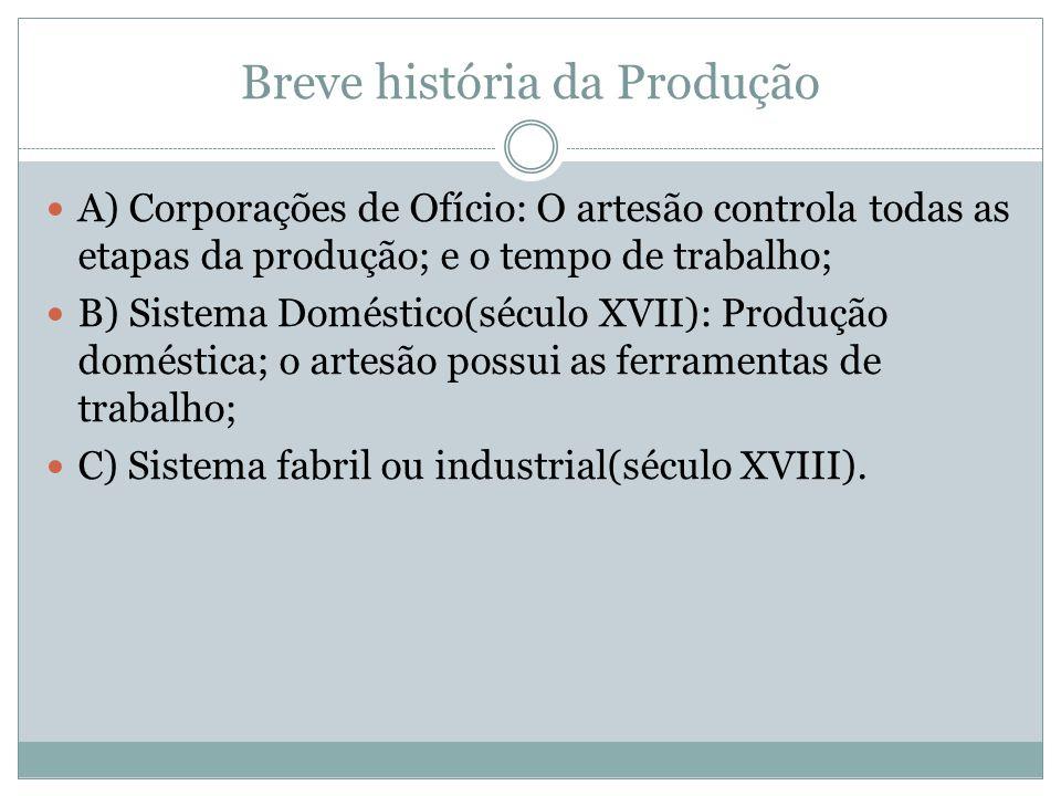Breve história da Produção A) Corporações de Ofício: O artesão controla todas as etapas da produção; e o tempo de trabalho; B) Sistema Doméstico(sécul