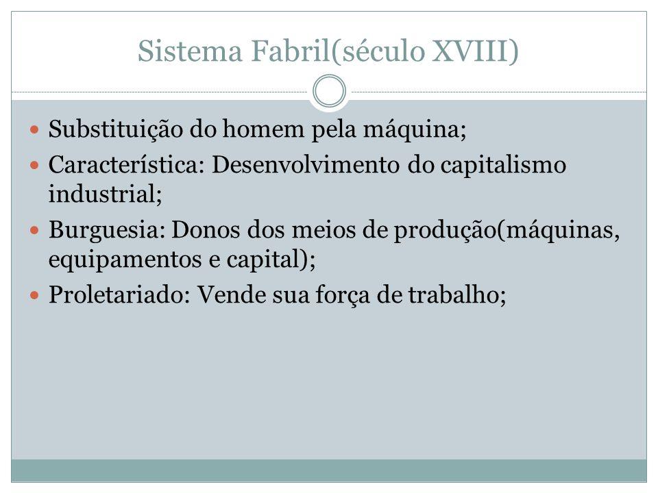 Sistema Fabril(século XVIII) Substituição do homem pela máquina; Característica: Desenvolvimento do capitalismo industrial; Burguesia: Donos dos meios