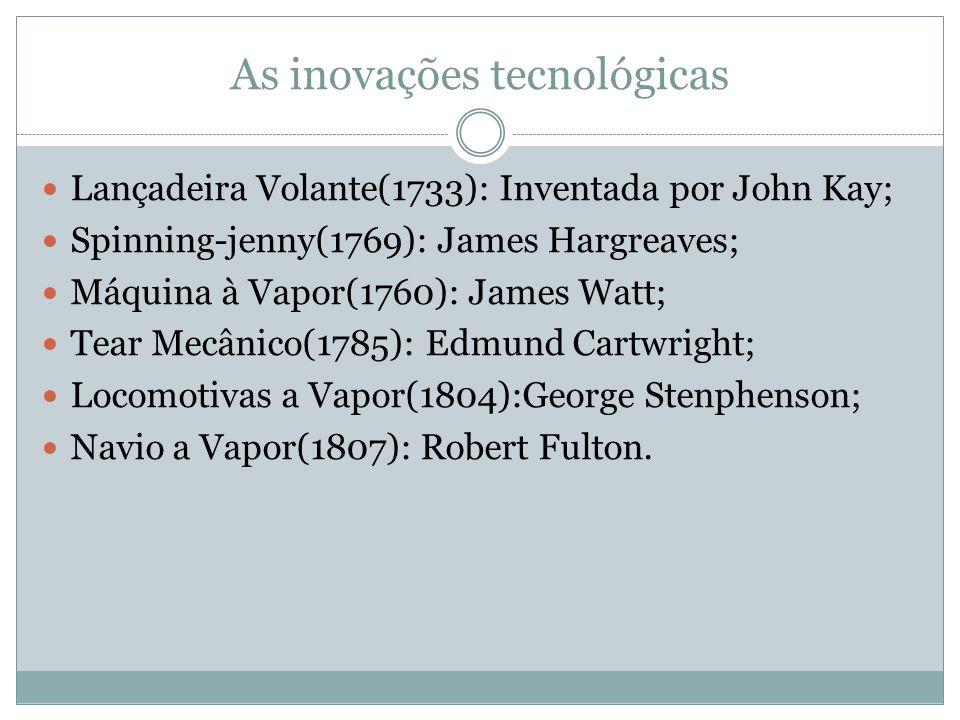 As inovações tecnológicas Lançadeira Volante(1733): Inventada por John Kay; Spinning-jenny(1769): James Hargreaves; Máquina à Vapor(1760): James Watt; Tear Mecânico(1785): Edmund Cartwright; Locomotivas a Vapor(1804):George Stenphenson; Navio a Vapor(1807): Robert Fulton.