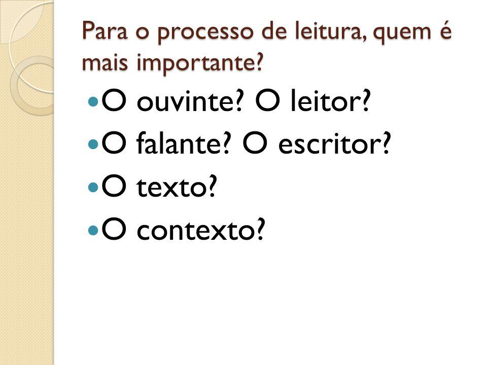 Para o processo de leitura, quem é mais importante? O ouvinte? O leitor? O falante? O escritor? O texto? O contexto?