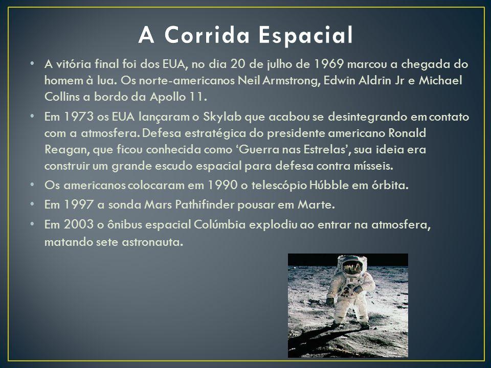 A vitória final foi dos EUA, no dia 20 de julho de 1969 marcou a chegada do homem à lua.
