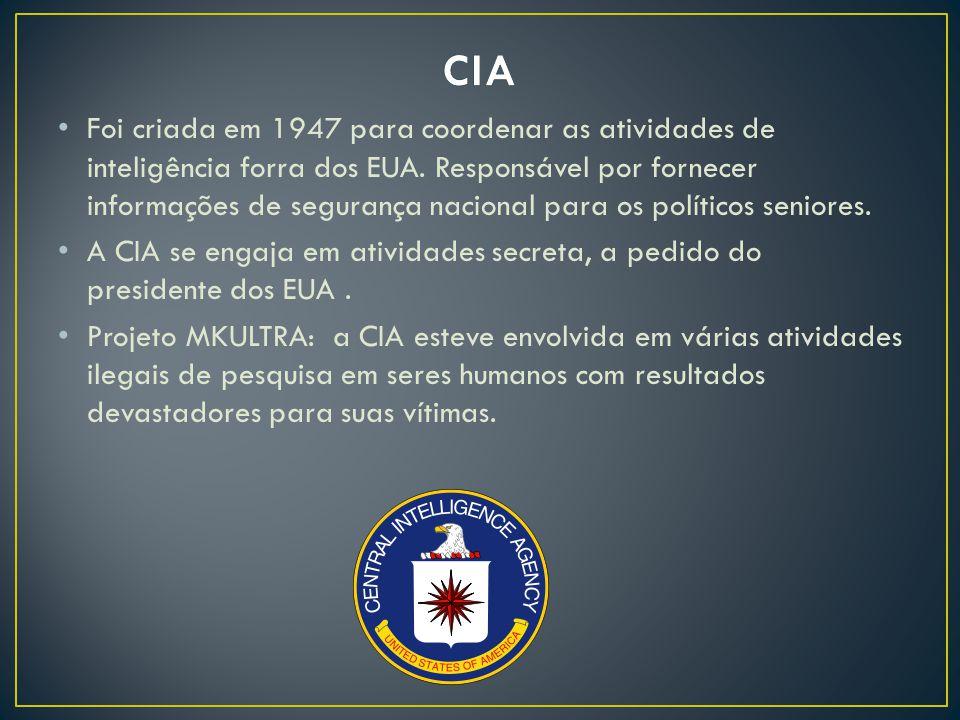 Foi criada em 1947 para coordenar as atividades de inteligência forra dos EUA.
