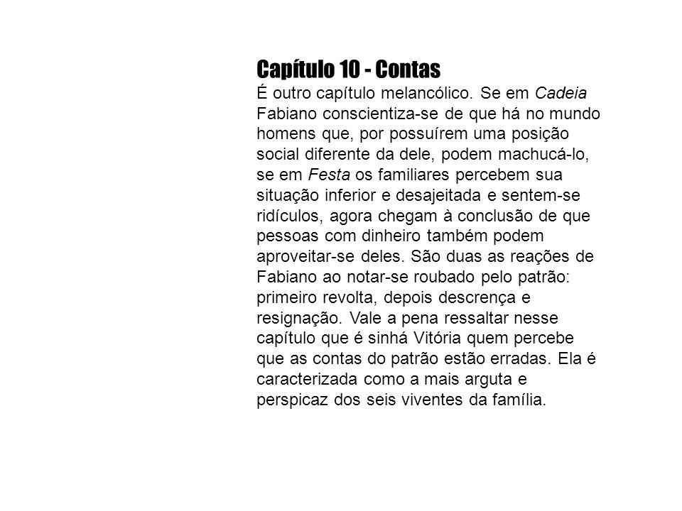 Capítulo 10 - Contas É outro capítulo melancólico. Se em Cadeia Fabiano conscientiza-se de que há no mundo homens que, por possuírem uma posição socia
