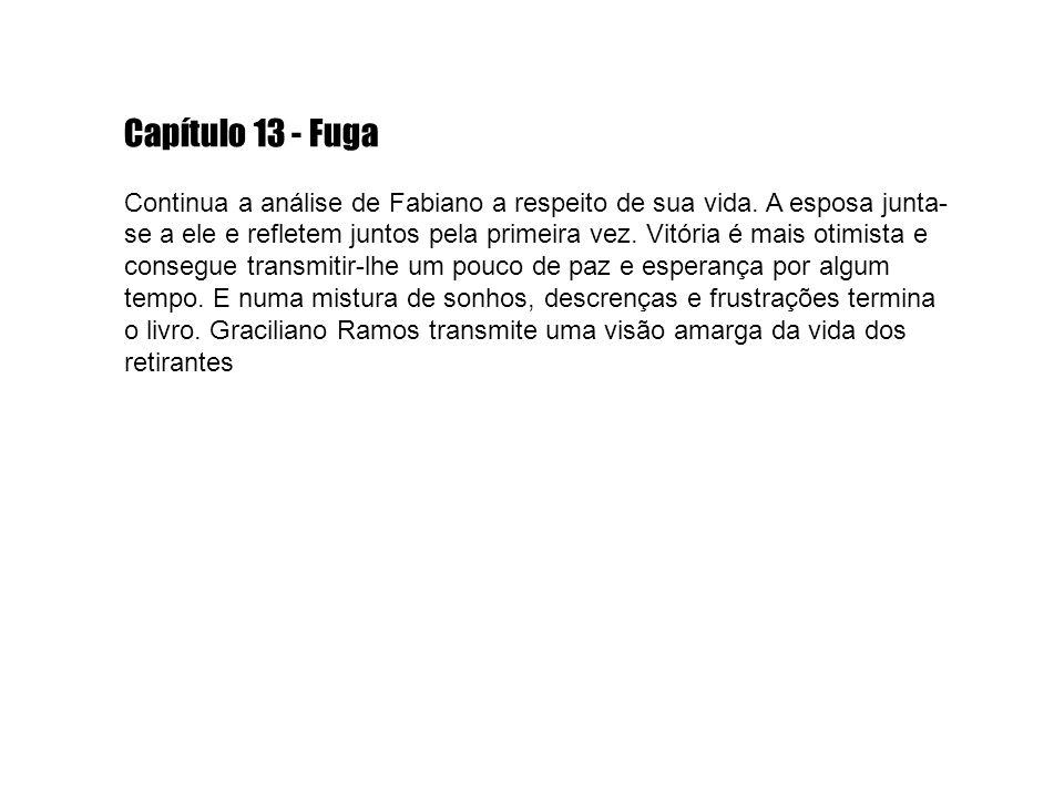 Capítulo 13 - Fuga Continua a análise de Fabiano a respeito de sua vida. A esposa junta- se a ele e refletem juntos pela primeira vez. Vitória é mais