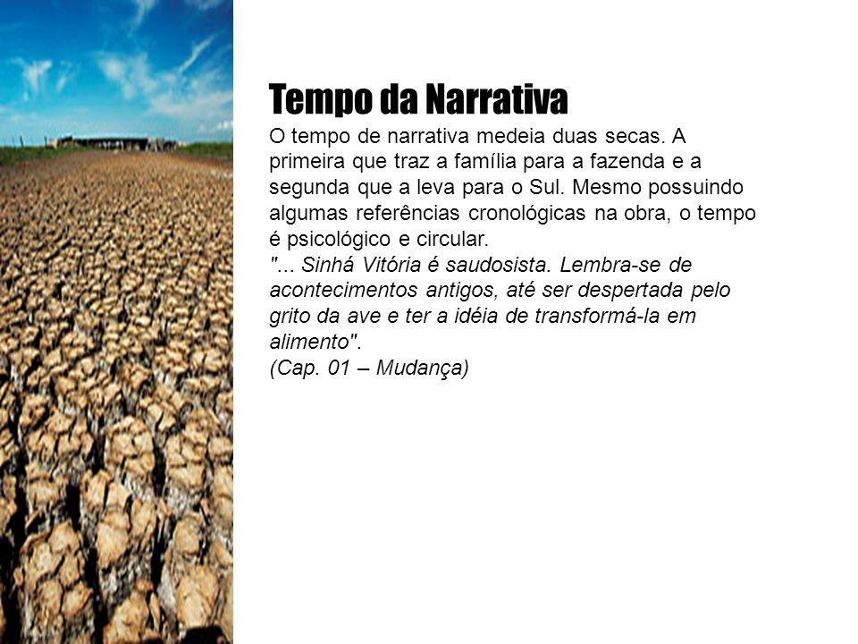 Tempo da Narrativa O tempo de narrativa medeia duas secas. A primeira que traz a família para a fazenda e a segunda que a leva para o Sul. Mesmo possu