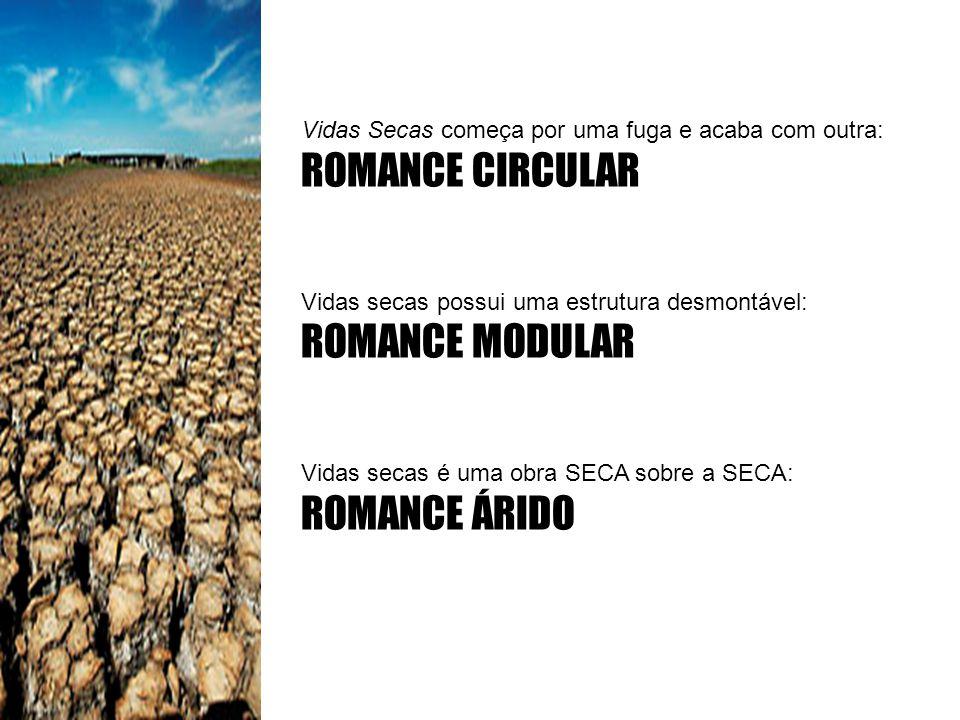 Vidas Secas começa por uma fuga e acaba com outra: ROMANCE CIRCULAR Vidas secas possui uma estrutura desmontável: ROMANCE MODULAR Vidas secas é uma ob