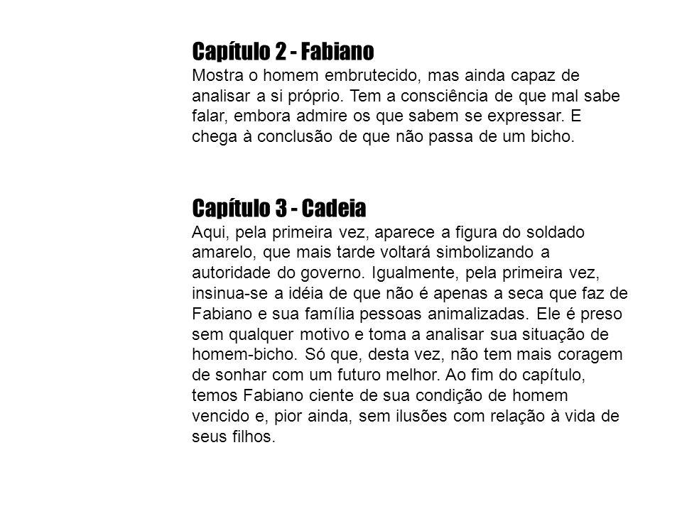 Capítulo 2 - Fabiano Mostra o homem embrutecido, mas ainda capaz de analisar a si próprio. Tem a consciência de que mal sabe falar, embora admire os q