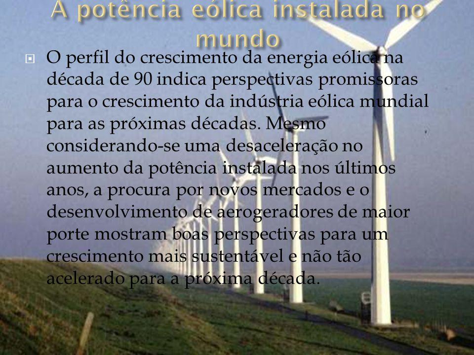 O perfil do crescimento da energia eólica na década de 90 indica perspectivas promissoras para o crescimento da indústria eólica mundial para as próximas décadas.