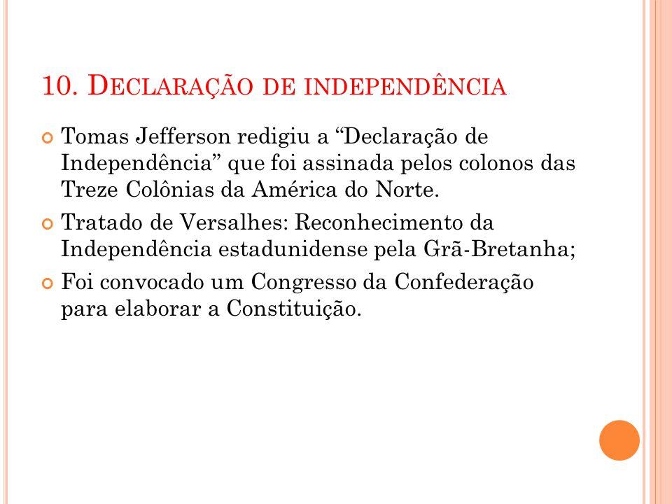 10. D ECLARAÇÃO DE INDEPENDÊNCIA Tomas Jefferson redigiu a Declaração de Independência que foi assinada pelos colonos das Treze Colônias da América do
