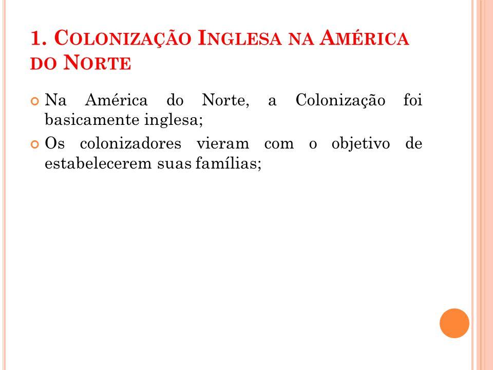 1. C OLONIZAÇÃO I NGLESA NA A MÉRICA DO N ORTE Na América do Norte, a Colonização foi basicamente inglesa; Os colonizadores vieram com o objetivo de e