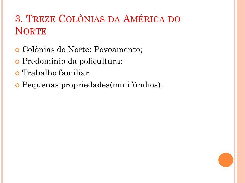 3. T REZE C OLÔNIAS DA A MÉRICA DO N ORTE Colônias do Norte: Povoamento; Predomínio da policultura; Trabalho familiar Pequenas propriedades(minifúndio