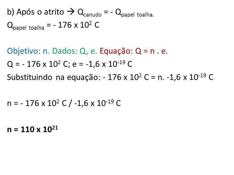 b) Após o atrito Q canudo = - Q papel toalha. Q papel toalha = - 176 x 10 2 C Objetivo: n. Dados: Q, e. Equação: Q = n. e. Q = - 176 x 10 2 C; e = -1,