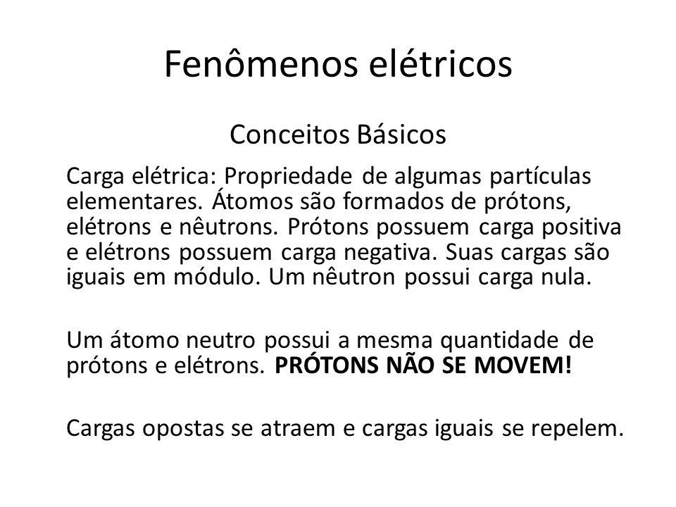 Fenômenos elétricos Conceitos Básicos Carga elétrica: Propriedade de algumas partículas elementares. Átomos são formados de prótons, elétrons e nêutro