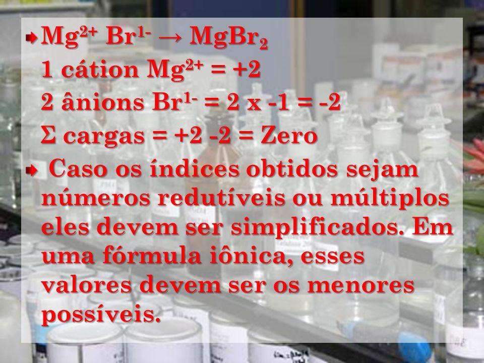 Mg 2+ Br 1- MgBr 2 1 cátion Mg 2+ = +2 1 cátion Mg 2+ = +2 2 ânions Br 1- = 2 x -1 = -2 2 ânions Br 1- = 2 x -1 = -2 Σ cargas = +2 -2 = Zero Σ cargas = +2 -2 = Zero Caso os índices obtidos sejam números redutíveis ou múltiplos eles devem ser simplificados.