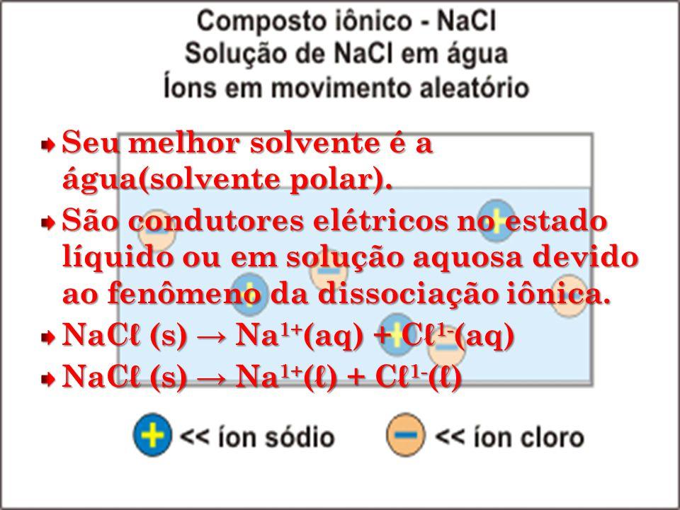 Seu melhor solvente é a água(solvente polar). São condutores elétricos no estado líquido ou em solução aquosa devido ao fenômeno da dissociação iônica